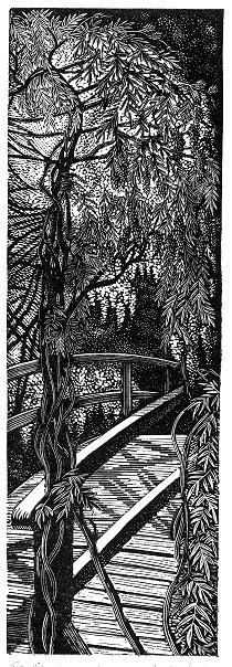 'Giverny: Wisteria', woodblock print by Andy English.