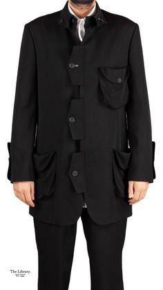 @ The Library 1994  Black Yohji Yamamoto Pour Homme long jacket. Button Down Collar, Long Jackets, Yohji Yamamoto, Wearable Art, Chelsea, Menswear, Wedding Ideas, London, Boutique
