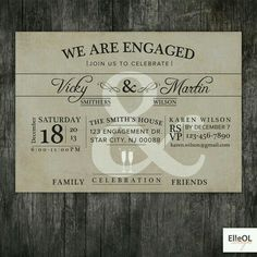 Custom Engagement Party Invites • Order yours at Boardman Printing.