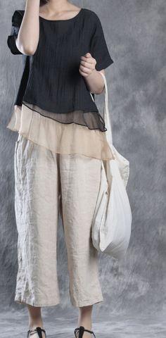 summer new black silk linen pullover plus size patchwork tops