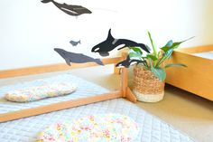 Montessori Infant : Newborn Baby Movement Area with Whale Mobile and Topponcino in a Montessori Home. Montessori Baby Toys, Montessori Preschool, Whale Mobile, Baby Play Areas, Baby Gates, Montessori Materials, Infancy, Infant Activities, Baby Shower Themes