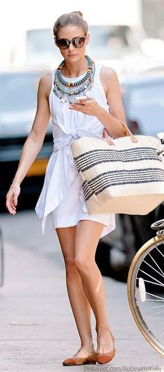 Olivia Palermo | Summer Style.. Love Everything EXCEPT that neckless :)