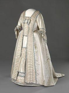 Wedding Dress: ca. 1779-1780, Norwegian, hand-woven silk satin, glazed linen, cotton, silk trimmings, baleen boning, hand-stitching.