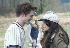 Baseball scene in Twilight with Edward and Bella. Nikki Reed aka Rosalie is in the background.