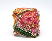 Neon, Gold and Crystal Cuff with Silk and Sequin Detail- Ready to Ship. $500.00, via Etsy.