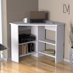 Home Library Design, Home Office Design, Home Office Decor, Home Decor, Home Office Shelves, Corner Writing Desk, Modern Contemporary Living Room, Wood Computer Desk, Desks For Small Spaces