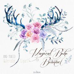 watercolor clip art antlers, roses flowers