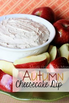 Autumn Cheesecake Dip - cream cheese, brown sugar, Cool Whip, and spices. The BEST dip of the season!! www.mostlyhomemademom.com
