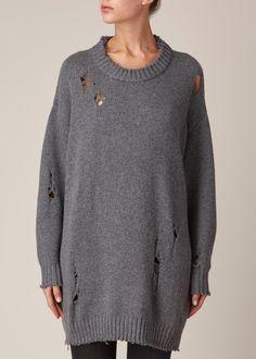 R13 Big Slouchy Crew Sweater (Dark Grey)