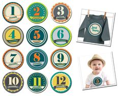 "Sticky Bellies: Milestone stickers for your favorite bellies! Set includes 13 stickers for baby's 1st year (1 - 12 months + a ""Just Born"" sticker)"
