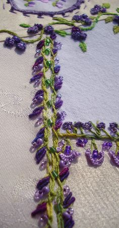Barred chain, green and purple with beads
