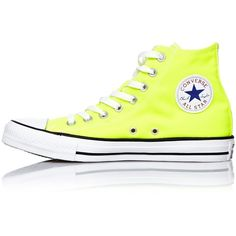 Converse Chuck Taylor Hi Electric Yellow Ladies Sneakers ($50) ❤ liked on Polyvore featuring shoes, sneakers, converse sneakers, converse trainers, converse shoes, yellow shoes and converse footwear