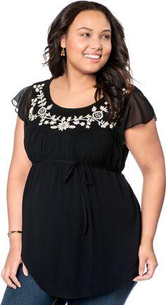 Motherhood Plus Size Short Sleeve Decorative Trim Maternity Blouse