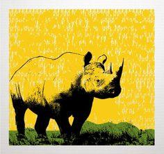 Rhino Art Print - Yellow Pop Art - Nursery Kids Room - Screenprint
