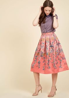 Statement Innovator Midi Skirt. Who knew one garment could inspire a pioneering of darling and diverse looks? #coral #modcloth