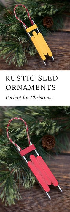 Just in time for Christmas, learn how to make a Rustic Wooden Sled Ornament with craft sticks, glue, and paint. This easy holiday craft is perfect for home or school! #ornaments #kids #christmas via @https://www.pinterest.com/fireflymudpie/