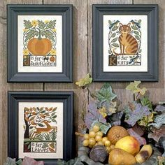 The Prairie Schooler J-K-L cross stitch pattern - J is for Jack-O-Lantern, K is for Kitty, L is for Leaves
