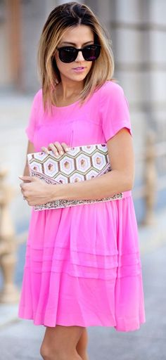 @roressclothes clothing ideas #women fashion street style pink dress