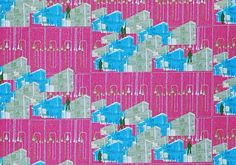House print Blue and Purple Cotton Fabric Modern by MariposaTextiles, $16.00