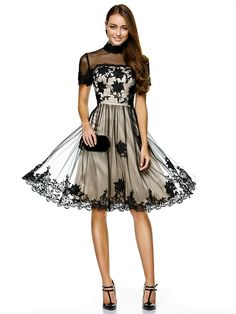 TS Couture® Cocktail Party / Company Party Dress A-line High Neck Knee-length Tulle with Appliques / Lace - USD $109.99