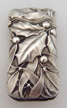 Art Nouveau silver holly and mistletoe match safe, Whiting, 1885 Vintage Silver, Antique Silver, Antique Jewelry, Silver Jewelry, Silver Bracelets, Vintage Antiques, Vintage Items, Jugendstil Design, Argent Antique