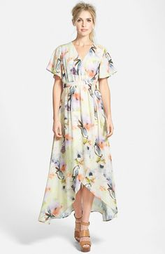 June & Hudson Floral Print High/Low Wrap Dress available at #Nordstrom