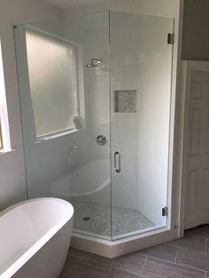 Frameless shower with a door and neo- angle panel, BM style handle in Chrome finish Frameless Shower Enclosures, Chrome Finish, Minimalism, Bathtub, Handle, Doors, Bathroom, Design, Style