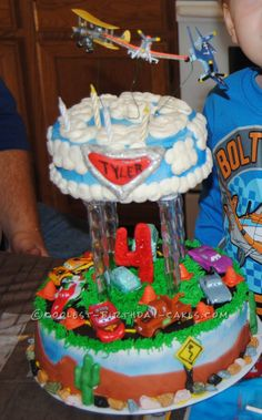Coolest Disney Planes And Cars Cake... This website is the Pinterest of birthday cake ideas