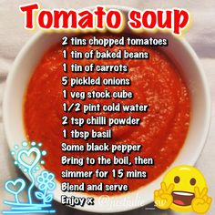 Syn free Tomato soup (like Heinz) only slimming world friendly. Syn free Tomato soup (like Heinz) only slimming world friendly. Slimming World Soup Speed, Slimming World Soup Recipes, Slimming World Desserts, Heinz Tomato Soup, Tomato Soup Recipes, Bean Recipes, Fish Recipes, Speed Soup, Corona