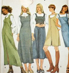 UNCUT, Vintage, 1980s, Sewing Pattern, Simplicity 9323, Misses', Jumper, Size 8-18, 1980s Pattern,Three Lengths, Dress, OLD2NEWMEMORIES