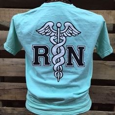 Southern Chics RN Registered Nurse Nurses Comfort Colors Chalky Mint Girlie Bright T Shirt Available in sizes- Adult S,M,L, XL, 2X Design is on back, front has southern chics logo