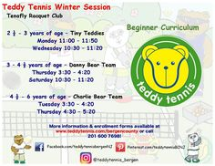 Our Winter class offerings for beginners. Sign up your Cub Cadets today! Online booking is now available! #TeddyTennis #SportMusicFun