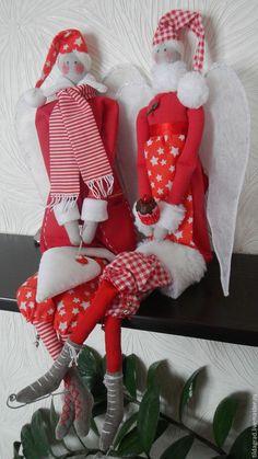 Купить тильда ангел Рождественский парочка в красной гамме - ярко-красный, бело-красный