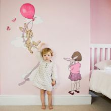 Belle and Boo fabric wall sticker - Pink Balloon height chart