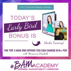 #BAM Academy DOORS ARE NOW OPEN! And Early Bird Bonuses are available for this week only! Sign up for #BAM Academy today and get access to a training on How To Create High End Offers, PLUS 2 Other Bonuses. The earlier you sign up, the more bonuses you get. After today, this bonus is GONE! JOIN HERE >> http://coachwithamanda.com/bam?utm_content=bufferc6575&utm_medium=social&utm_source=pinterest.com&utm_campaign=buffer   #coaching #femaleentrepreneur #womeninbusiness #ladyboss #businesswomen…