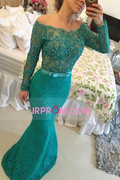 2016 Long Sleeves Off The Shoulder Prom Dresses Mermaid Lace With Sash And Beads