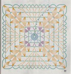 Discover thousands of images about Crochet Curtains + Diagrams Crochet Motif Patterns, Crochet Blocks, Granny Square Crochet Pattern, Crochet Diagram, Crochet Chart, Crochet Squares, Crochet Curtains, Crochet Tablecloth, Crochet Doilies
