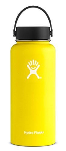 Hydro Flask 32 oz Double Wall Vacuum Insulated Stainless Steel Leak Proof Sports Water Bottle, Wide Mouth with BPA Free Flex Cap, Lemon Hydro Flask 40 Oz, Best Reusable Water Bottle, Stainless Steel Water Bottle, Toiletry Bag, Travel Products, Luxury Travel, Amazon, Lemon, Workout Equipment