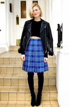 Check it out!:  blue plaid pattern, soft pleats, full skirt ...  (image from whowhatwear)