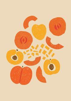 Peach Illustration by Debbie Powell. Art And Illustration, Illustration Inspiration, Pattern Illustration, Food Illustrations, Pinterest Instagram, Art Inspo, Design Art, Art Photography, Illustrator
