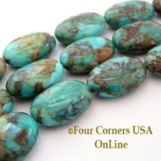 18mm Oval Kingman Boulder Turquoise Beads Designer 16 Inch Strand Four Corners USA OnLine Jewelry Making Supplies KNG-13031