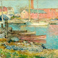 """The Red Mill, Cos Cob,"" Frederick Childe Hassam,1896, oil on canvas, 6.79 x 9.55"", private collection."