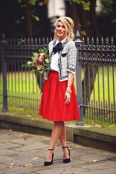 Adorable Together;Blouse,Short Cardigan & Red Skirt- Jo's Style