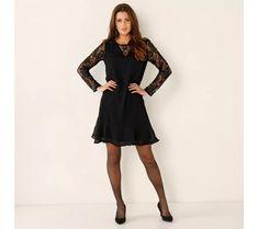 Šaty z voálu a čipky | blancheporte.sk #blancheporte #blancheporteSK #blancheporte_sk #vianoce #outfit Dresses With Sleeves, Formal Dresses, Outfit, Long Sleeve, Black, Fashion, Dresses For Formal, Outfits, Moda