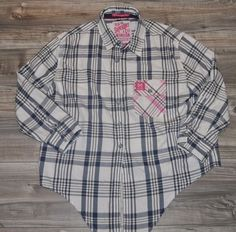 SUPERDRY Ladies L Shirt Blue PINK tie up front Lumberjack patch cotton Large #Superdry #Shirt #Casual