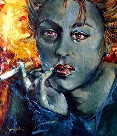 Renee de Vries, #kunstenaar, verkoopt #portret 'Jeanne Moreau' via #KUNSTmarktplaats.nl. #kunst #paletmes #schilderij