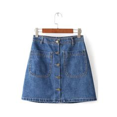 Blue Buttons Pockets A Line Denim Skirt (25 AUD) ❤ liked on Polyvore featuring skirts