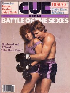 """Barbara Streisand and Ryan O'Neal in """"The Main Event,"""" Cue Magazine, July 1979"""