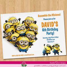 Despicable Me Invitation - Printable Minions Birthday Party Invite You-Print Custom Personalized Digital Photo Card 4x6 or 5x7 on Etsy, $11.36 AUD