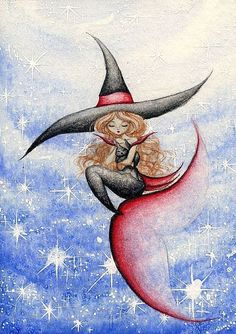 Art: Witchy Mermaid and Black Mercat 3 by Artist Hiroko Reaney